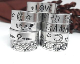 hand stamped stacking rings